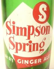 vintage ACL Soda Pop Bottle:  green SIMPSON SIPRING of S. ESTON, MASS - 8 oz ACL