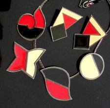 VTG RUNWAY ART DECO MONET RED BLACK CREAM ENAMEL MODERNIST NECKLACE EARRINGS