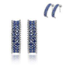 Women's Blue Cubic Zirconia Oval Huggie Earrings Hoop Snap Studs Jewellery Gift