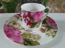Branded ROYAL DINE Cup & Cake Plate Bold Floral Design Collection
