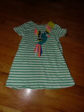 New Mini Boden Girls Green  Parrot Applique Striped Dress Sz 3-4,6-7 Years