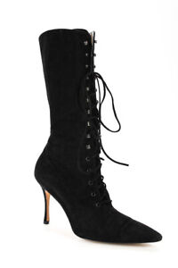 Manolo Blahnik Womens Lace Up Pointed Toe Mid Calf Boots Black Suede 40 LL19LL