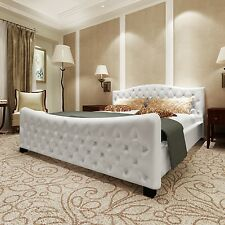 lit luxury grand luxe cuir look blanc 140 x 200 sommier inclus