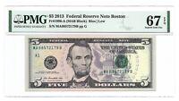 2013 $5 BOSTON FRN, PMG SUPERB GEM UNCIRCULATED 67 EPQ BANKNOTE