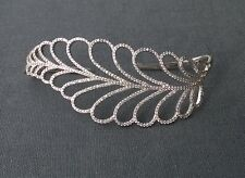 """SOLID 925 STERLING SILVER SPARKLING CUBIC ZIRCONIA HAND BANGLE 6"""" 8"""""""