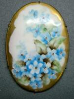 Аntique Victorian Hand Painted Porcelain Flowers Floral Painting Brooch Large