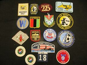 16 SPORT PATCHES HOCKEY SOCCER BEER MAINE MASSACHUSETTS CONN.YMCA POLICE