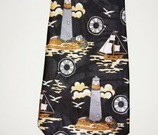 Steven Harris Mens Tie nautica Black Tall Ships Light House Lifesaver Sea Gulls