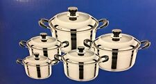 10 Pcs/Set Stock Pots Stainless Steel With Glass Lid 3.2 - 8.5 QT - New! P-6005