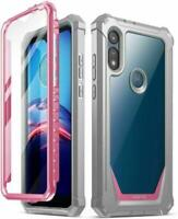 Poetic For Moto E Clear Case, Dual Layer Shockproof Protective Cover Pink