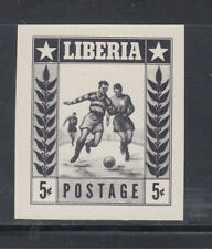 Liberia # 348 Imperf Proof in BLACK MNH Sports Football Soccer