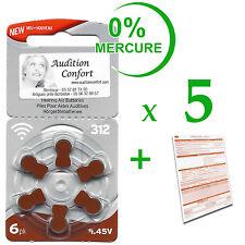 5 plaquettes de 6 piles pour appareil auditif RAYOVAC N° 312  (PR70) 0% mercure