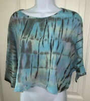 Urban Outfitters Ecote Cropped T Shirt Top Blue Festival Tie Dye Sz MEDIUM EUC