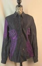 Gianfranco Ferre Size M Dark Blue Front Snaps Embroidered Shirt Top Womens Italy