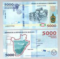 BURUNDI 5000 5,000 FRANCS ( 2018 / 2019) P-53 UNC BANK NOTE