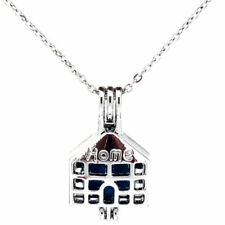 """K538 Silver Alloy 26mm Home Family House Beads Cage Open Pendant Necklace 18"""""""