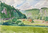 Acquerello Impressionista Sachsenmühle Franca Svizzera Autografato Krause Datato