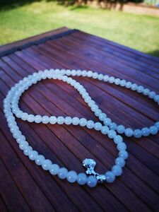 Authentic untreated GRADE A jadeite Jade Bead Necklace with white gold