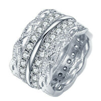 Luxury Women 925 Silver Rings White Sapphire Wedding Engagement Ring Size 6-10