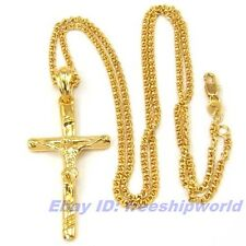 """REAL EXALTED 18K YELLOW GOLD GP 2.2"""" CROSS PENDANT 23.6"""" NECKLACE SOLID FILL m11"""