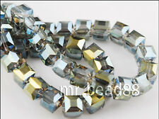 Free Shipping Charms Glass Crystal Faceted Cube Loose Spacer Bead 6mm/8mm/10mm