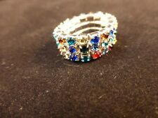 Crystal Rhinestone 3 Row Multi Coloured Silver Tone Stretch Ring & Free Gift Bag
