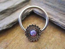 Purple Tribal Shield Mandala Lab Opal Captive Ring Hoop Septum Helix Surgical