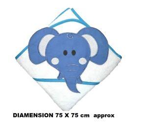 100 % PURE COTTON Baby Hooded Bath towel ** WHITE ELEPHANT / BLUE ** 75cm X 75cm