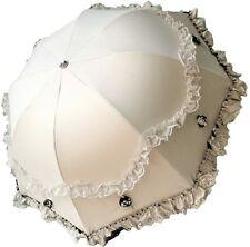 White & Black Parasol Ruffle Lace Umbrella Rain/Sun Costume Victorian Steampunk