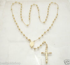 """4mm 26"""" Mens Diamond Cut Bead Ball Rosary Necklace Chain Real 14K Yellow Gold"""