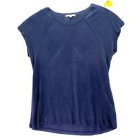 DR2 Womens Blouse Blue Faux Suede Cap Sleeve Scoop Neck Stretch Raw Hem Top S