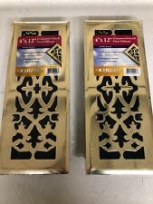 "Lot of 2 Truaire Ornamental Scroll Floor Diffusers Polished Brass 4"" x 12"" Pair"