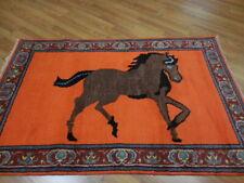 Super Super Fine Veg Dye Hunting(Hunting) Gomm Qumm Horses 4x6.1 Rug