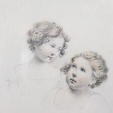 Fine Antique Portrait Sketch Of 2 Girls C.1840 With Colour