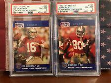 1990 - 1991 Pro Set Joe Montana & Jerry Rice Super Bowl XXV 49ers PSA 8 RARE