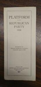 Platform of the Republican Party 1924 Coolidge Dawes 8vo original NRC VG 210414