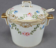Hand Painted Nippon Pink Rose & Forget Me Nots & Gilt Condiment Jar 1891 - 1921