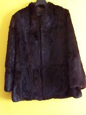 Ladies Vintage Real Fur Jacket/Coat, Dark Brown,Coney Rabbit Fur, Large
