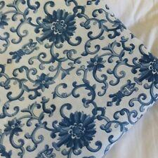 Vintage RALPH LAUREN  Queen Flat Sheet 88x100 Porcelain Rosette Asian Blue White