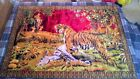 Vtg India Riding Elephant Tiger Hunt Rug Wall Hanging Tapestry Size Beautiful