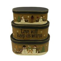 Oval Vintage Collectibles Snowman Cardboard Nesting Boxes Decor Gifts Set of 3
