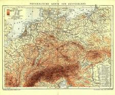 Alte Karte Physikalische Karte von Deutschland Original von 1901 Geologie Berge