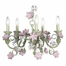Jubilee Collection 929009 5 Arm Leaf and Flower Chandelier, Pink/Green