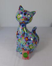 "Pomme-pidou Spardose "" Katze XL-C-  Hellblau mit Blüten """