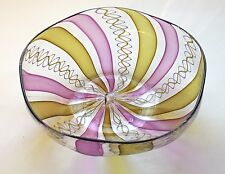 Vintage Murano Style Handblown Art Glass Ribbon Cane Glass Bowl Signed