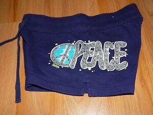 Girl's Size 8 runs small Justice Shorts Gym Comfy Shorts PEACE Navy Blue GUC