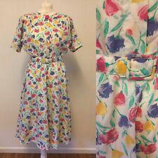 Vintage 1980s Dress Spring Summer Size 16 Belted