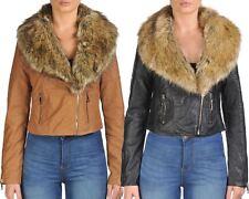 Ladies Women Faux Fur Collar PU Leather over Size Biker Jacket Zip Pocket Coat
