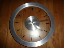 """Sterling & Noble Modern Quartz Wall Clock, Silver and Clear, 12"""" Round"""