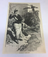 1886 magazine engraving ~ POETRY OF CAMPING OUT, Woman And Man Fishing